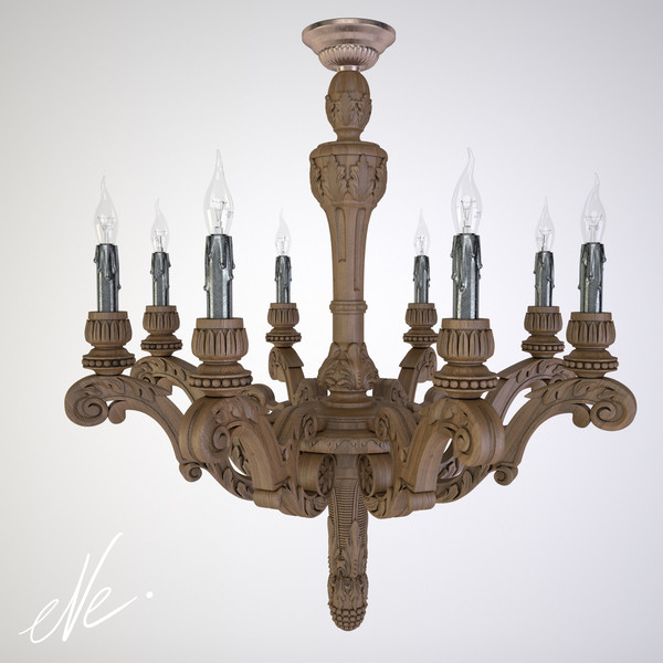 restoration french baroque wood 3d max - French Baroque Wood Chandelier Large... by eve.happy